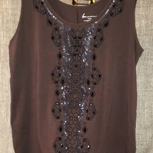 Lane Bryant Tops - Lane Bryant Brown Tank w Black Beads Size 14/16